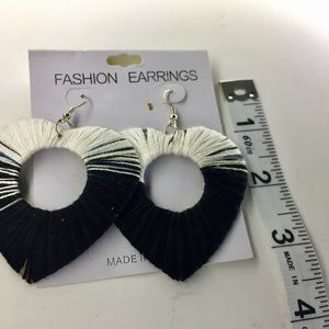 Black and white heart shaped earrings
